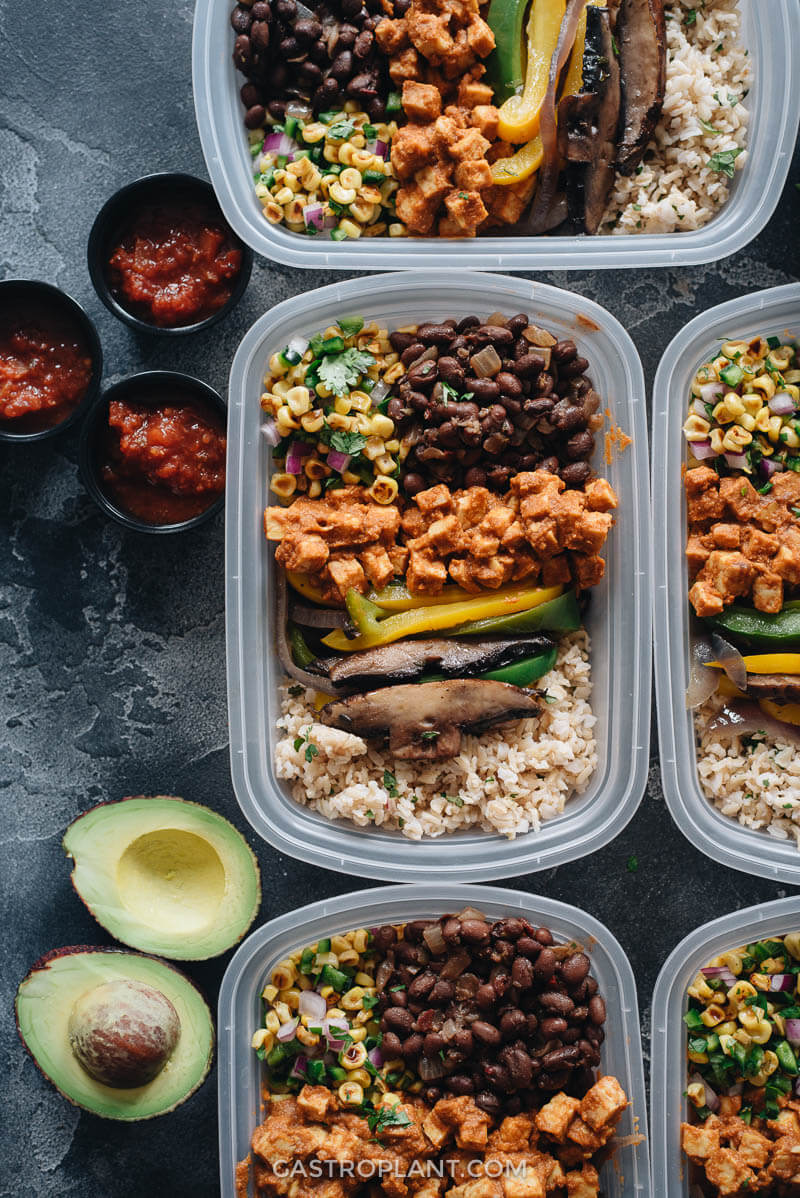 Clean Vegan Chipotle Buddha Bowl Meal Prep with Tempeh Sofritas and Brown Rice
