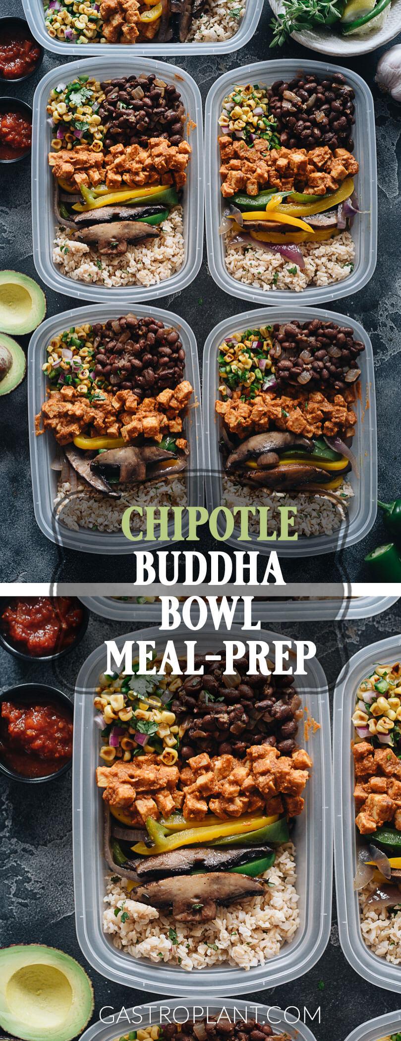 Clean Vegan Chipotle Buddha Bowl Meal Prep with Brown Rice, Mushrooms, Tempeh