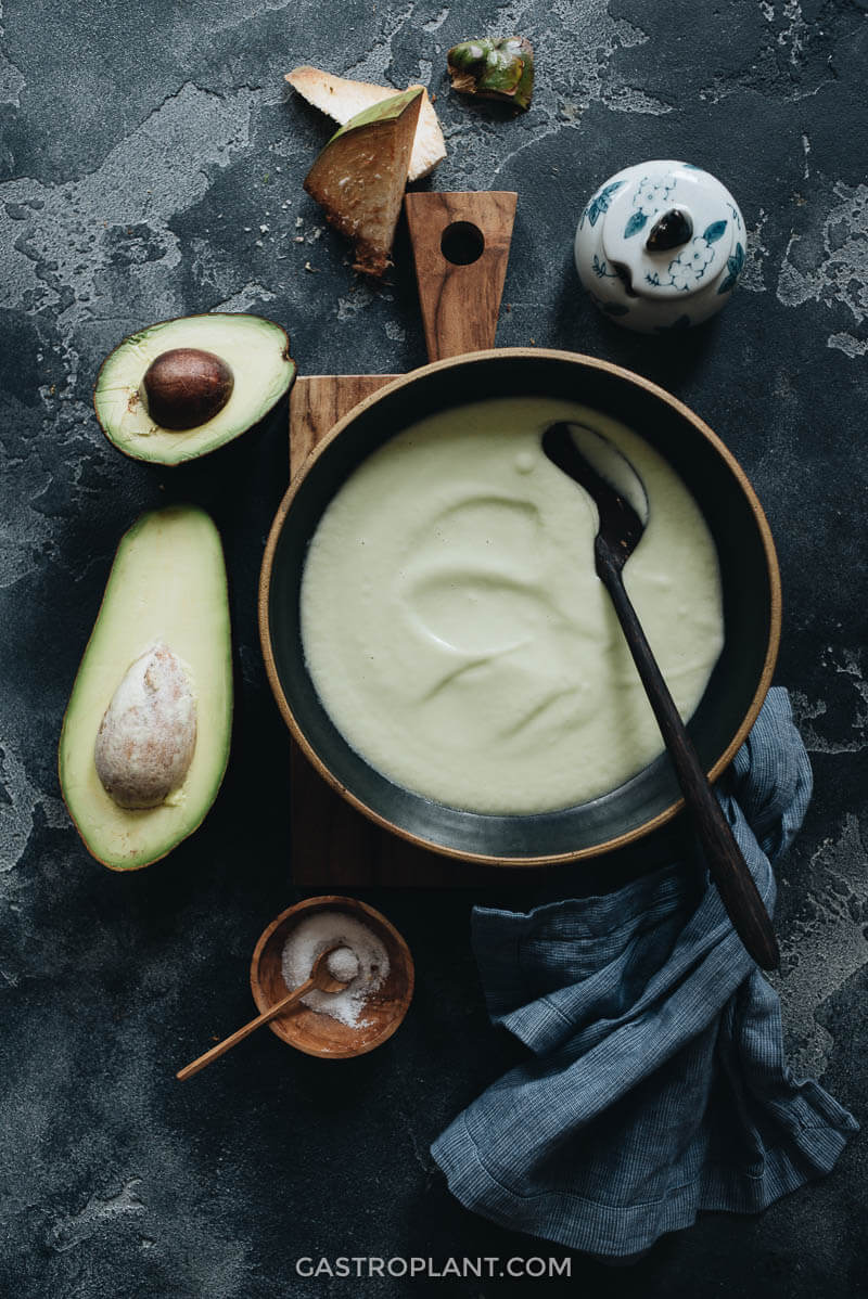 Easy vegan chilled avocado soup