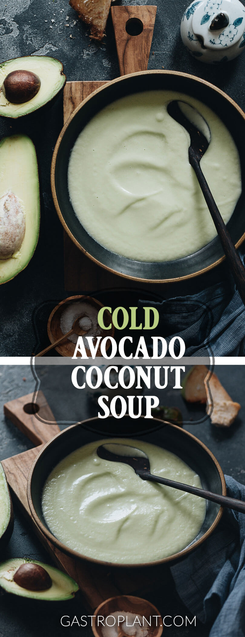 Easy raw vegan chilled avocado soup