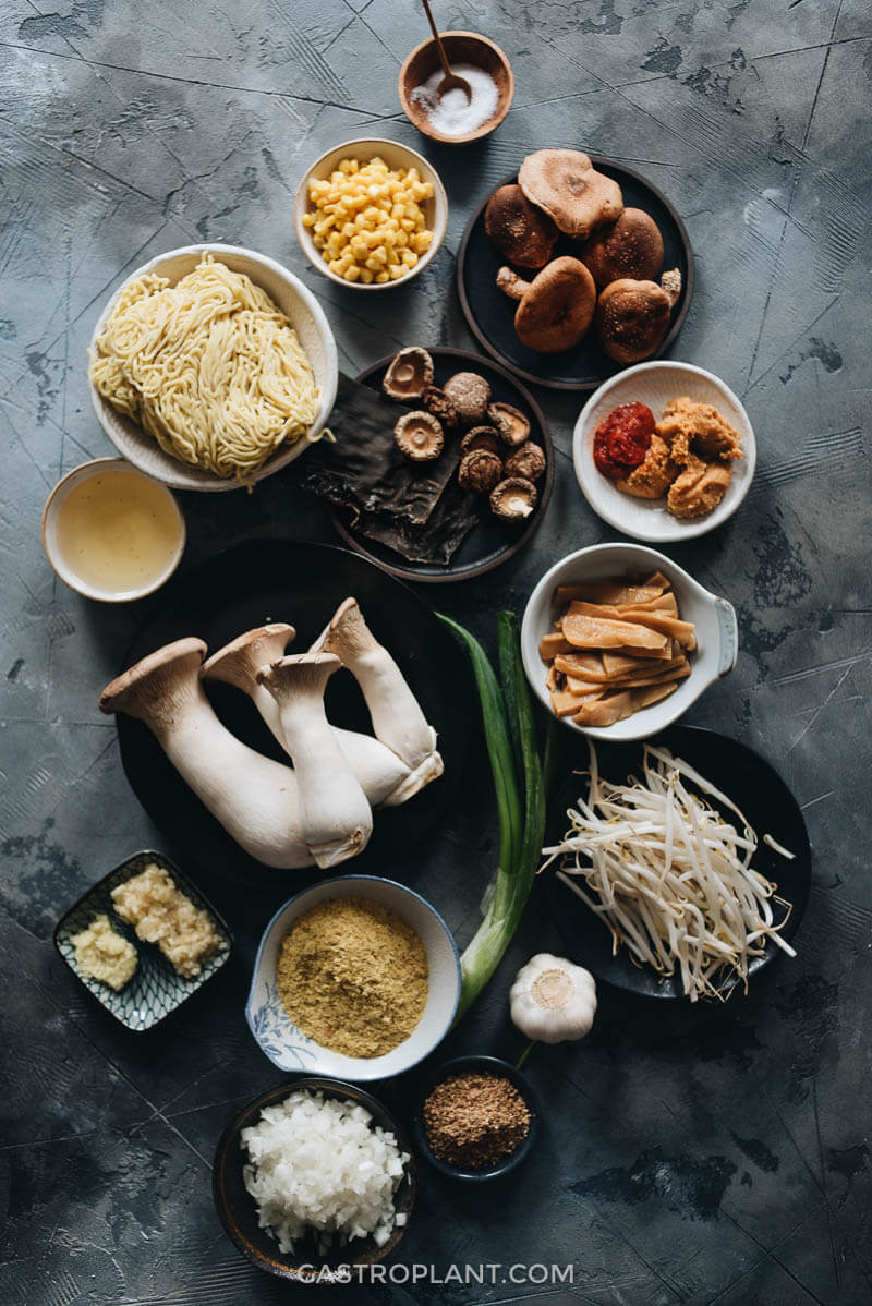 Ingredients for making vegan miso ramen noodle soup