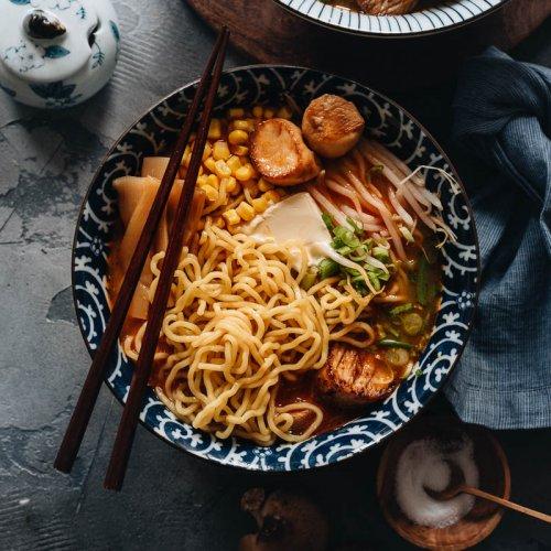 A bowl of vegan miso ramen noodle soup with vegan scallops