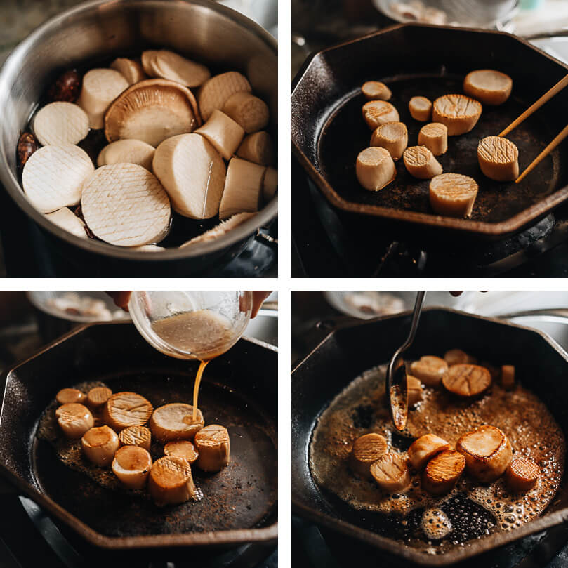 Cooking process for vegan scallops made from king oyster mushrooms
