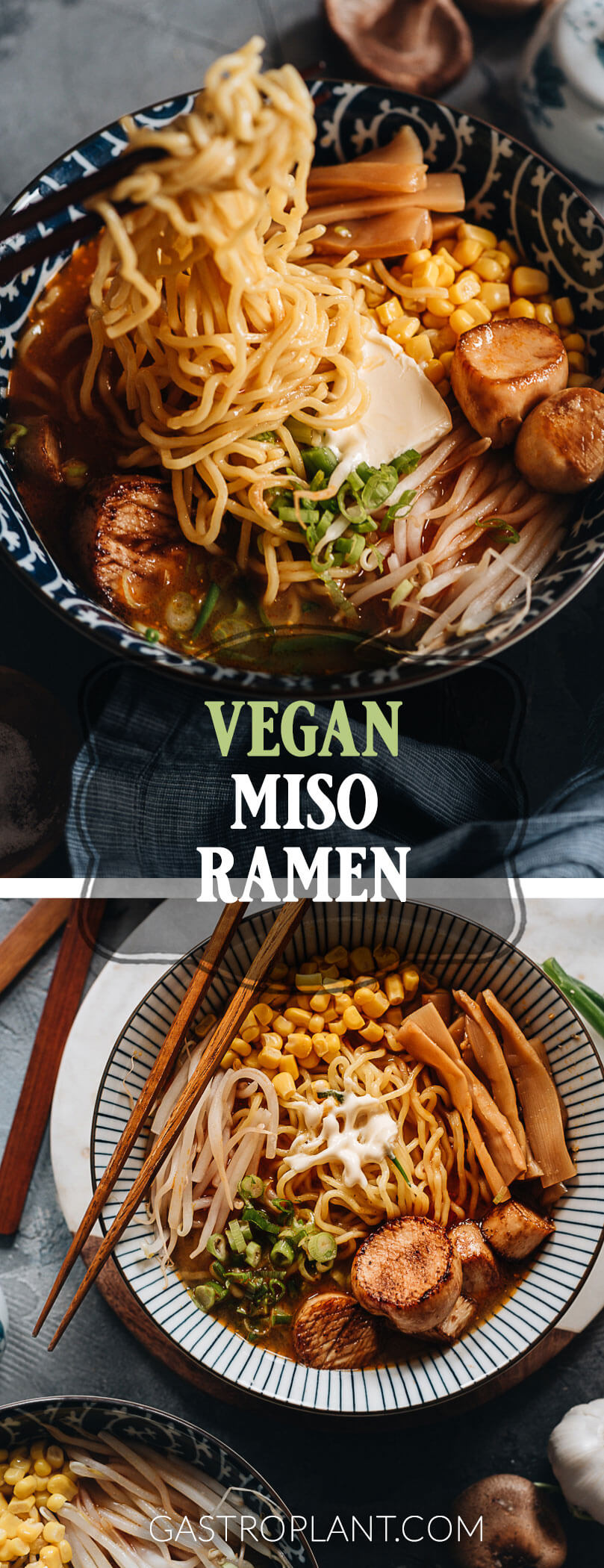 Vegan Miso Ramen Noodle Soup Collage