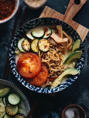 Light creamy soy milk ramen noodle soup