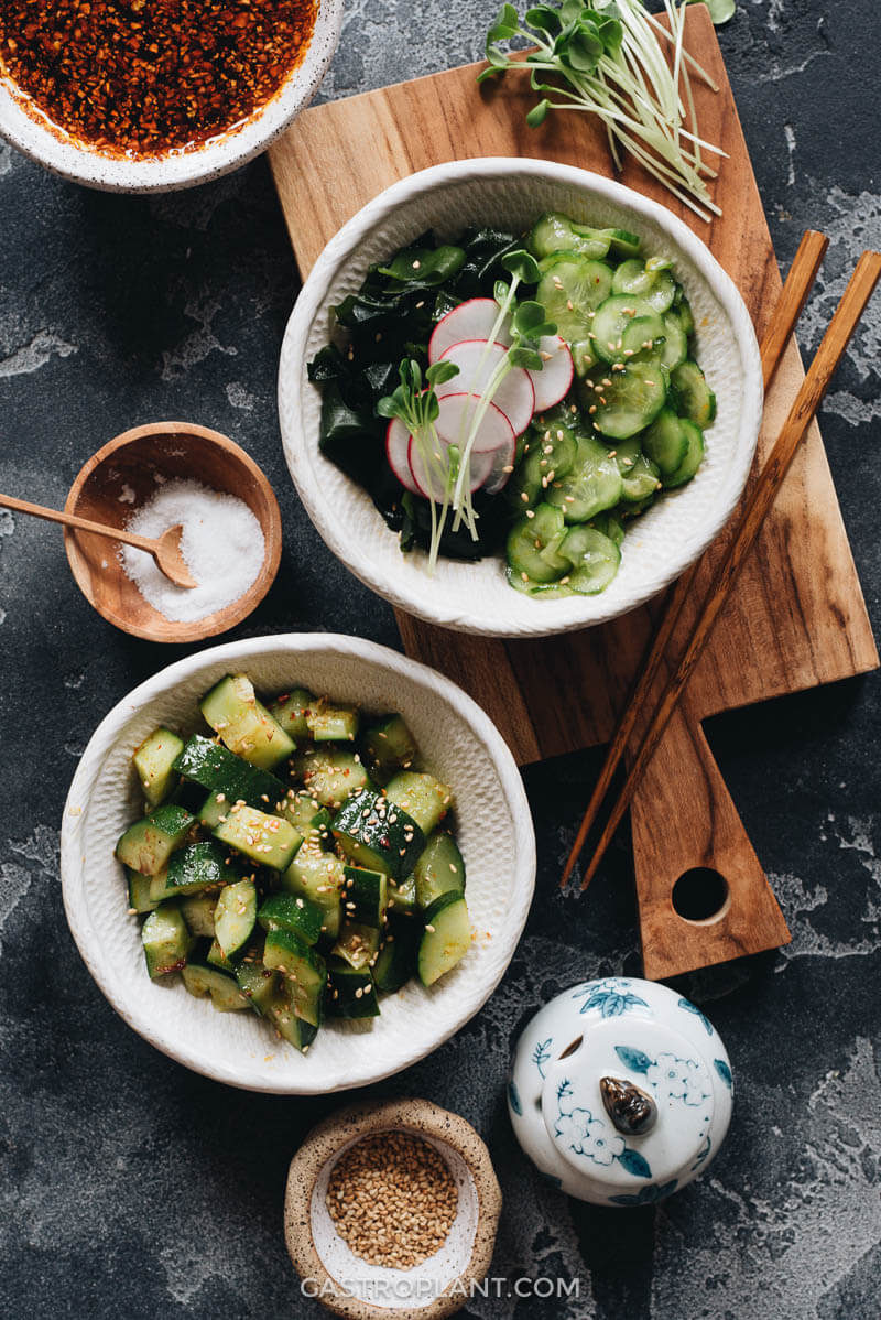 Spicy Cucumber Salad Chinese and Japanese Style