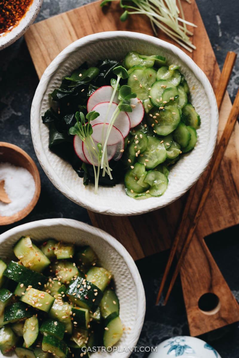 Spicy Sunomono Japanese Cucumber Salad with Seaweed