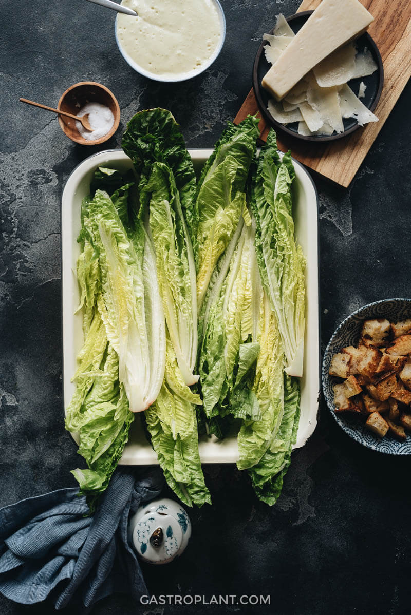 Ingredients for vegan Caesar salad: dressing, romaine lettuce, croutons, and cheese