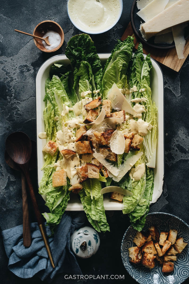 Healthy Dairy-Free Vegan Caesar Salad with Homemade Croutons