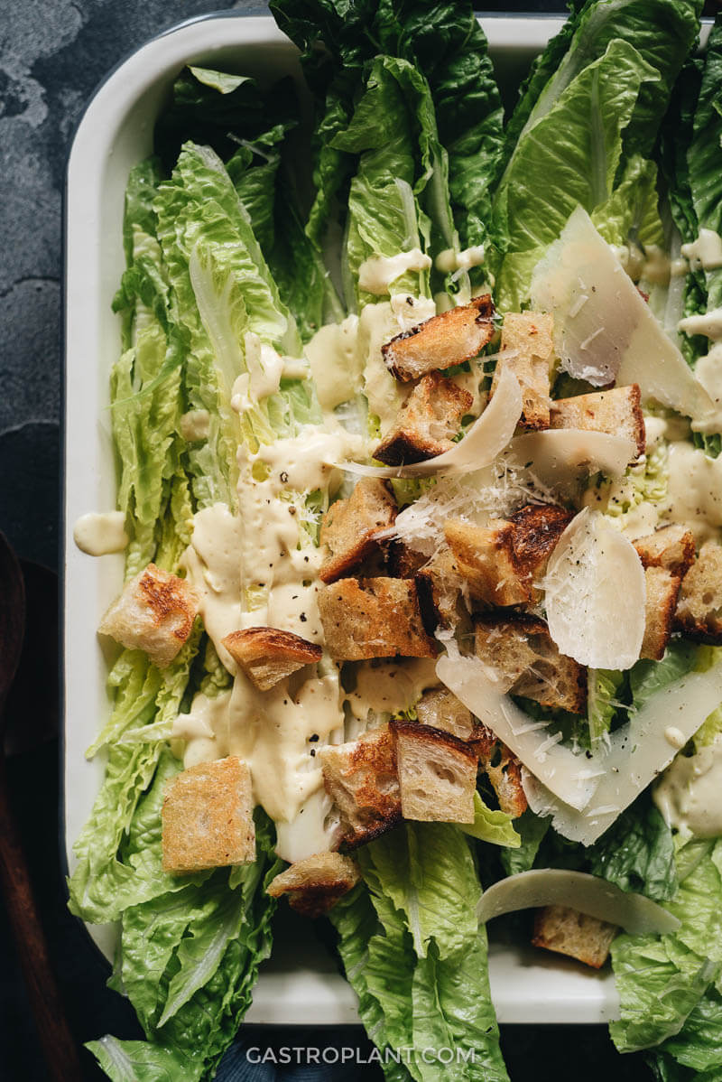 Healthy Vegan Caesar Salad Close-Up of Croutons and Cheese