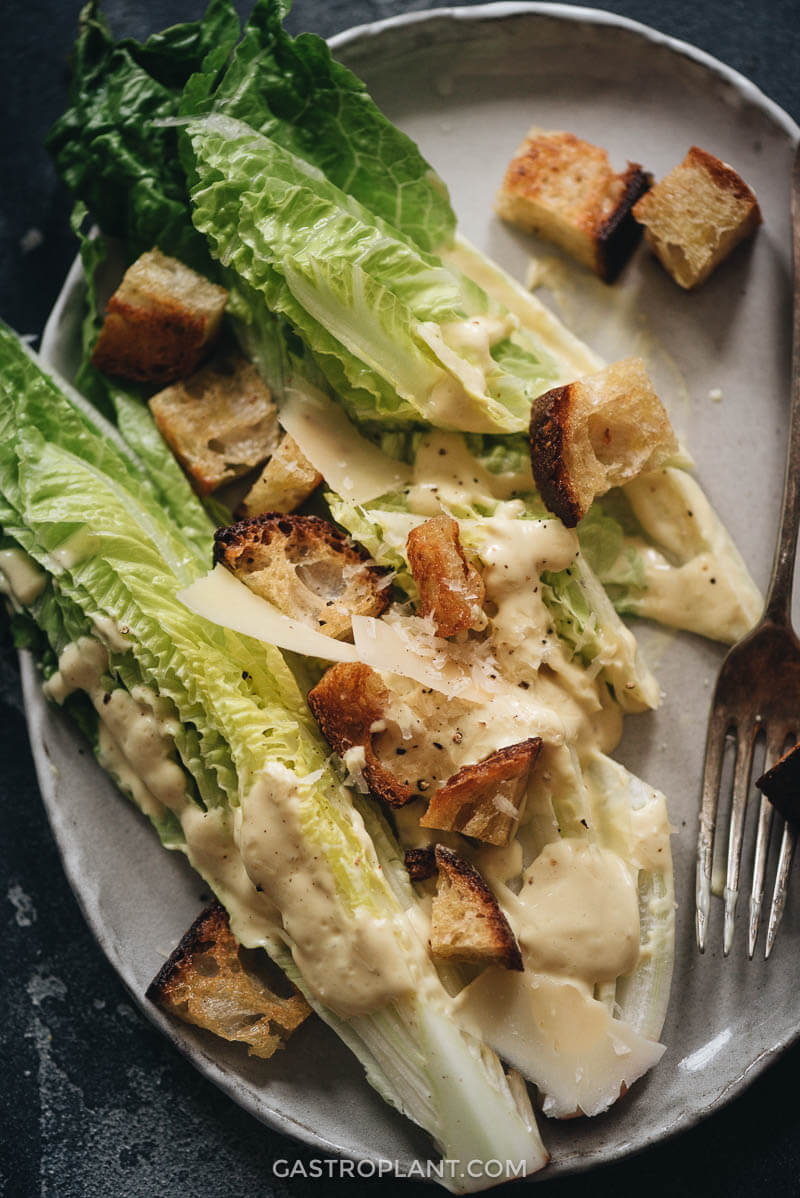 Vegan Caesar Salad for the First Course