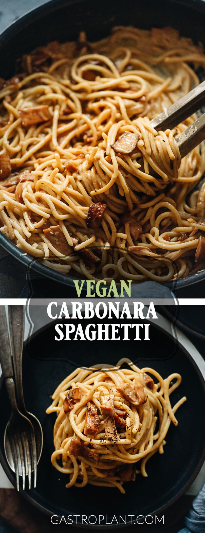 Easy Vegan Carbonara Spaghetti with King Oyster Mushroom Bacon