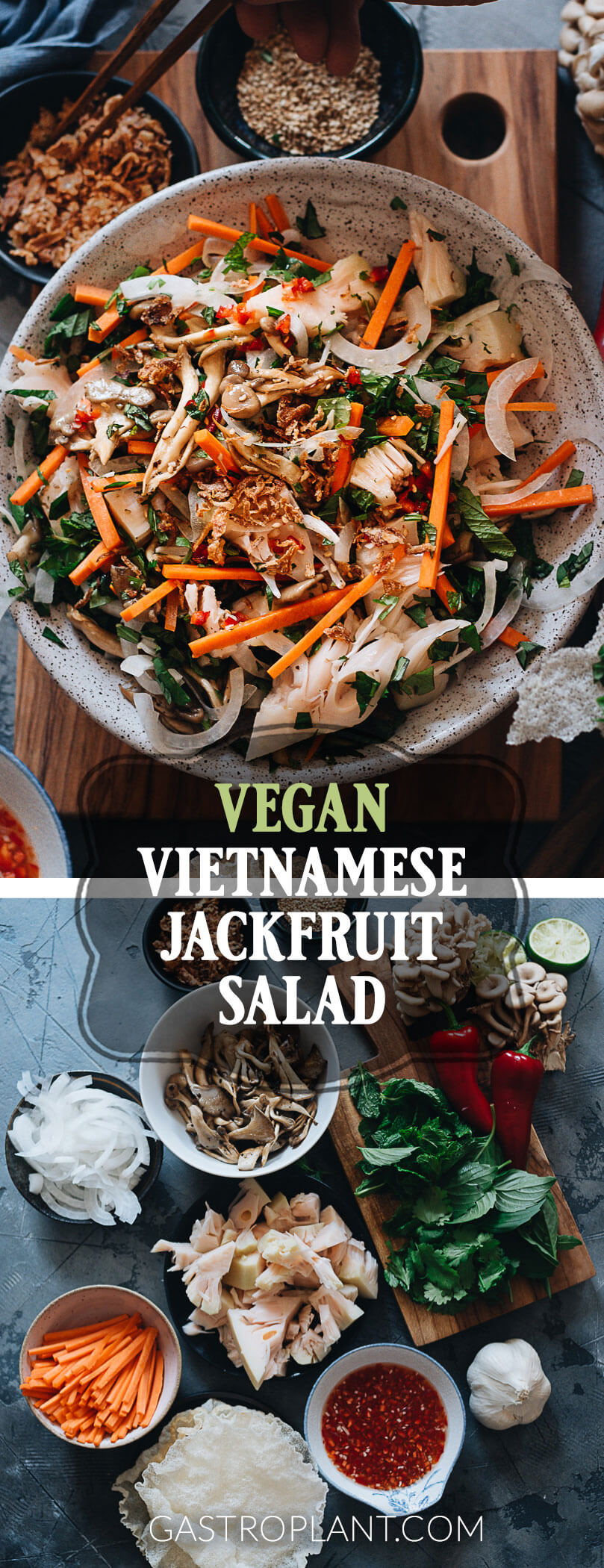 Easy Healthy Vegan Vietnamese Jackfruit Salad Collage