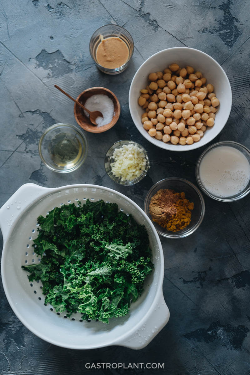 Chickpeas, kale, curry powder, and other ingredients mis-en-place