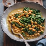 Vegan chickpea curry and kale