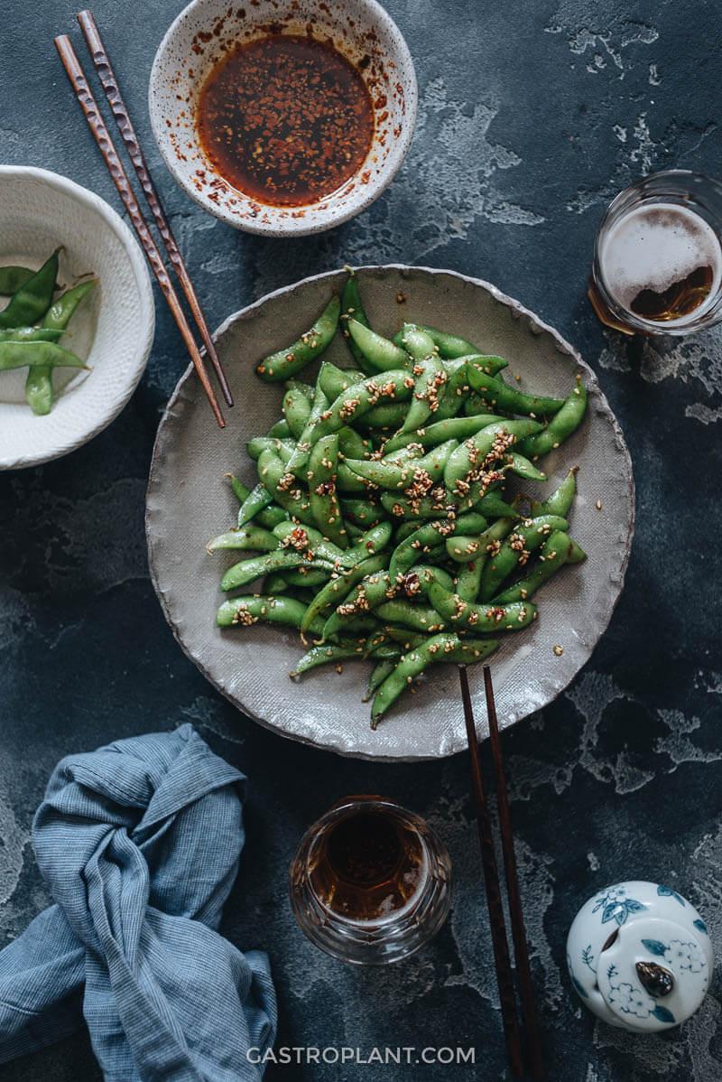Healthy appetizer smoky spicy edamame