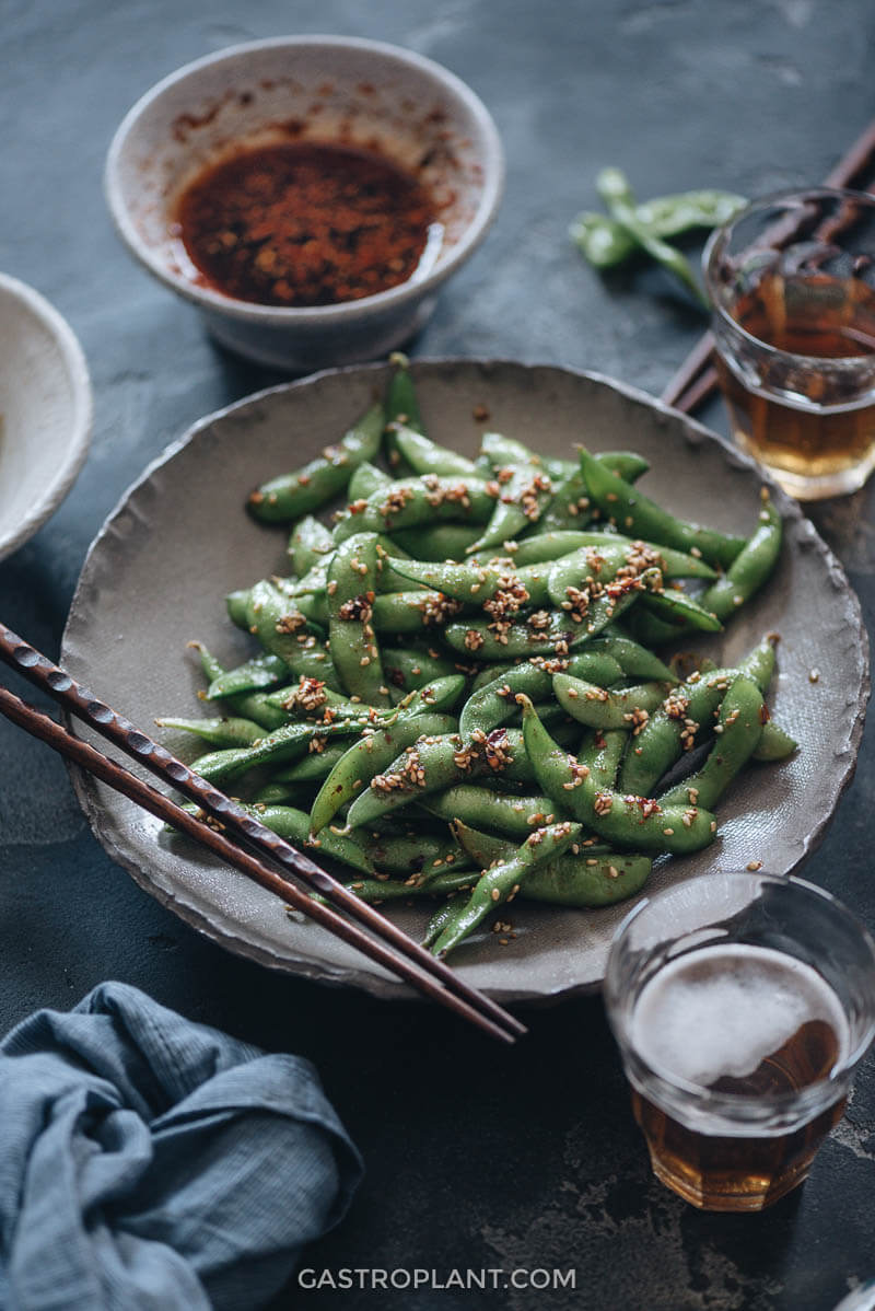 Smoky Spicy Edamame as an appetizer with beer