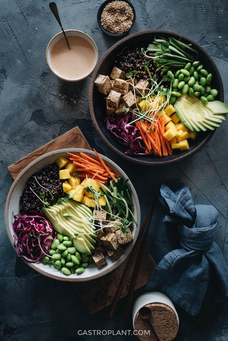 Healthy vegan poke bowl rainbow colored
