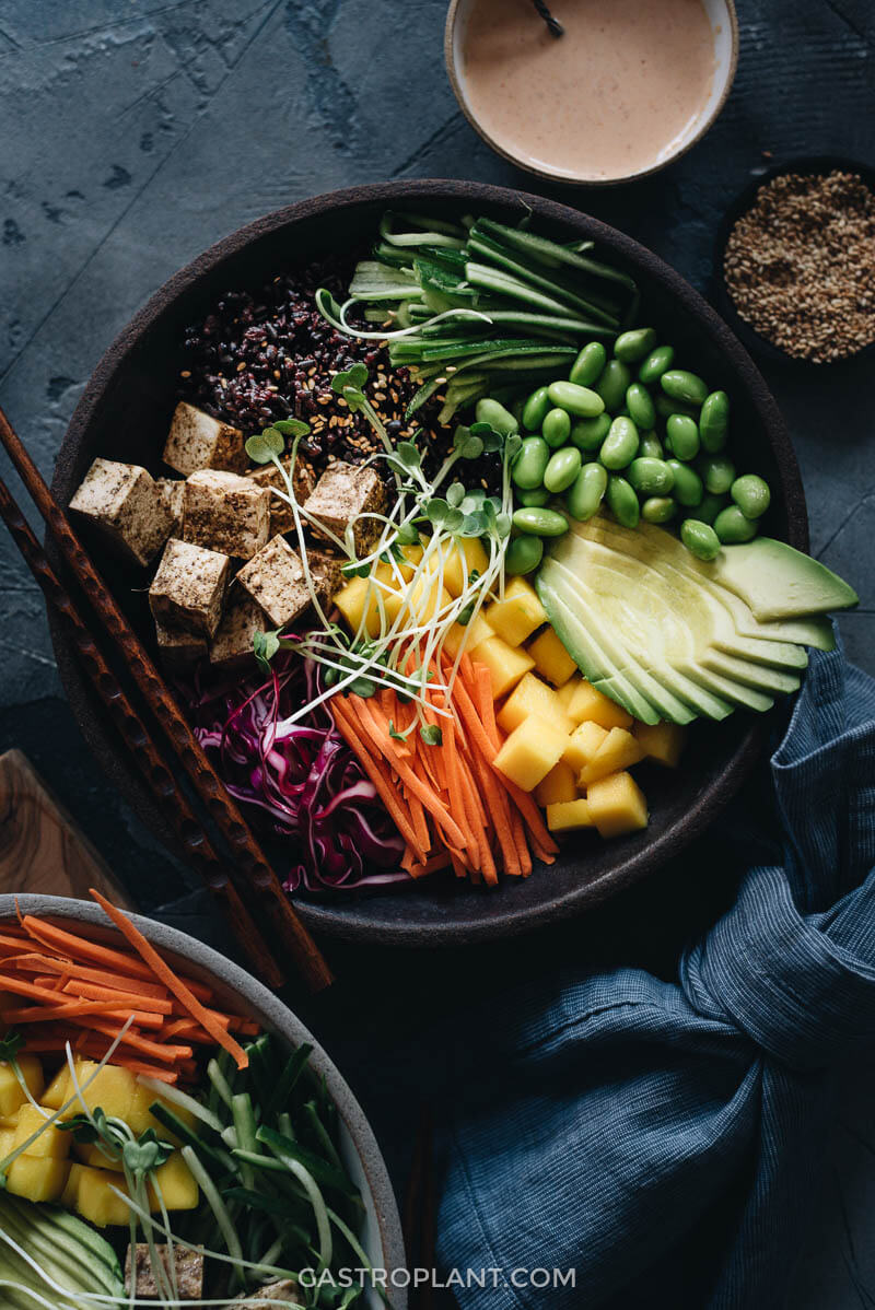 Easy healthy vegan vegetarian poke bowl recipe