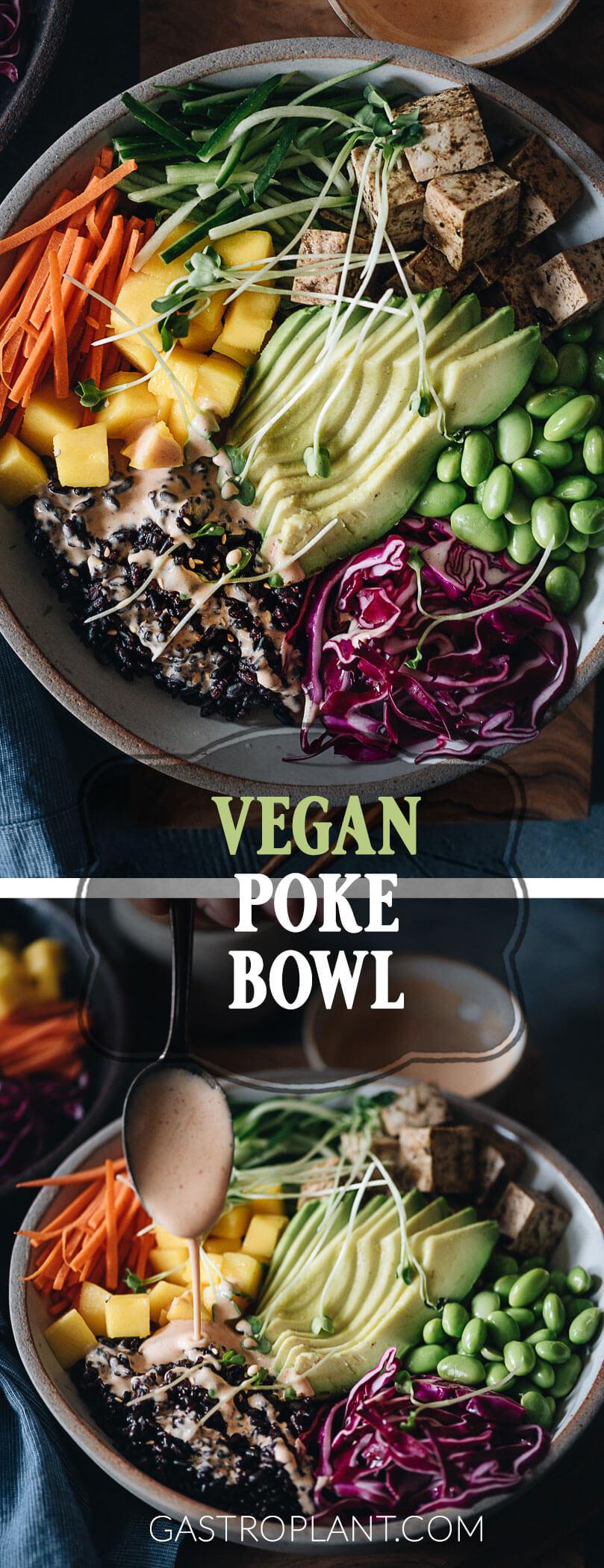 Vegan poke bowl with marinated tofu, avocado, mango, edamame, red cabbage, black rice