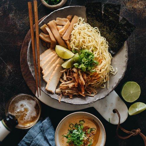Vegan tsukemen dipping ramen fro dinner with a cup of beer