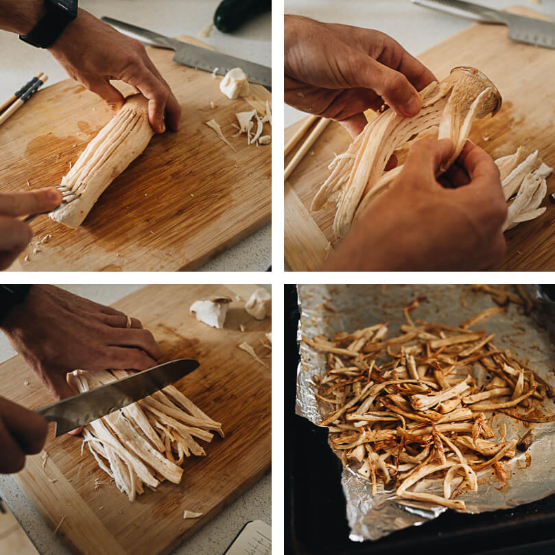 "How to shred king oyster mushrooms into pulled ""chicken"""