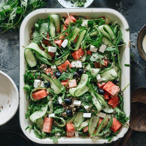 Easy refreshing vegan watermelon arugula salad