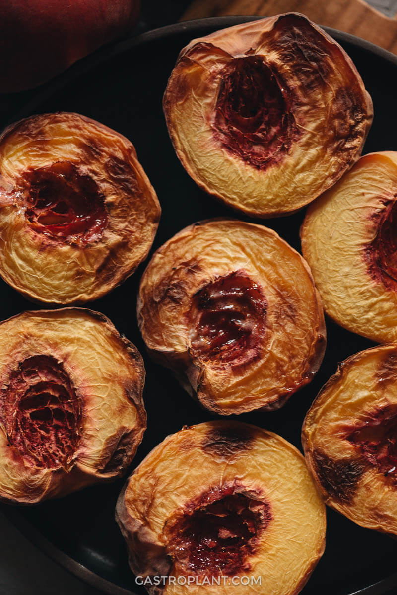 Close up of the flavorful air fryer peaches