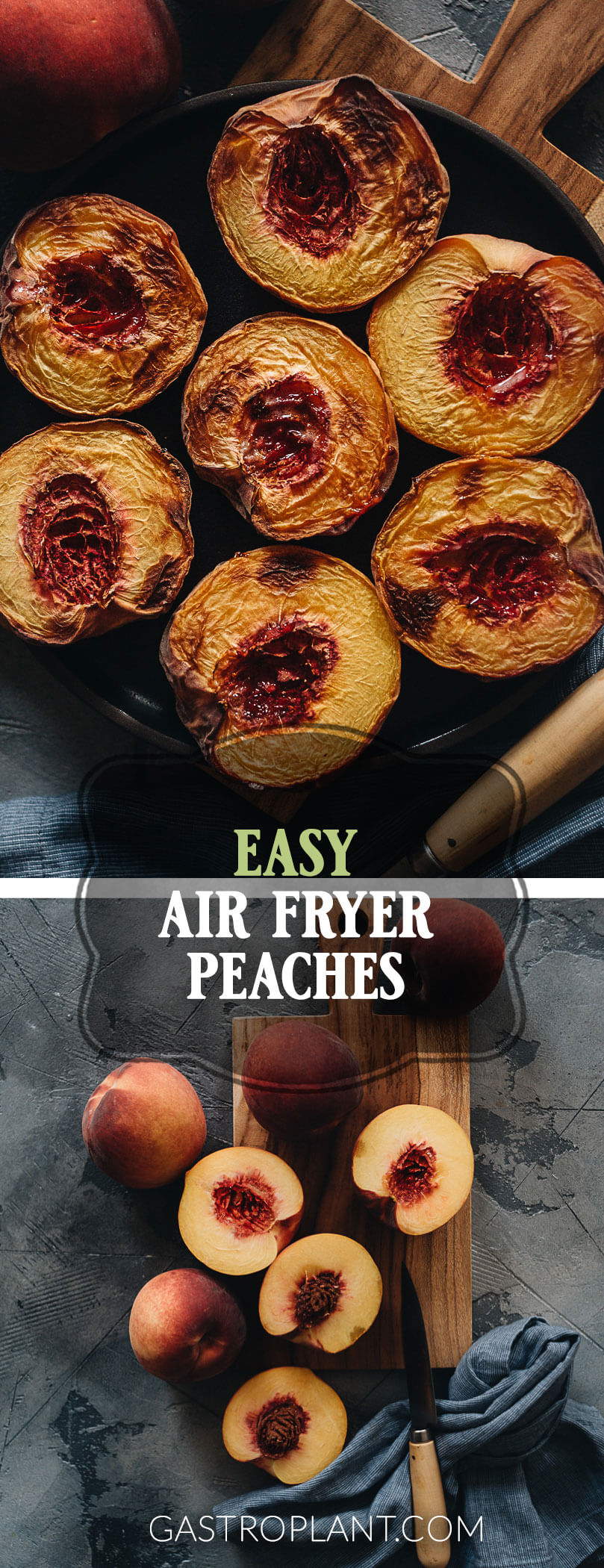 Easy Air Fryer Peaches Collage
