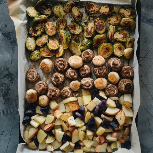 Vegan Sheet Pan Dinner of Brussels Sprouts, Mushrooms, and Potatoes