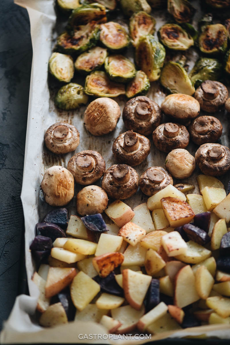 Easy roasted mushrooms, brussels sprouts, and potatoes