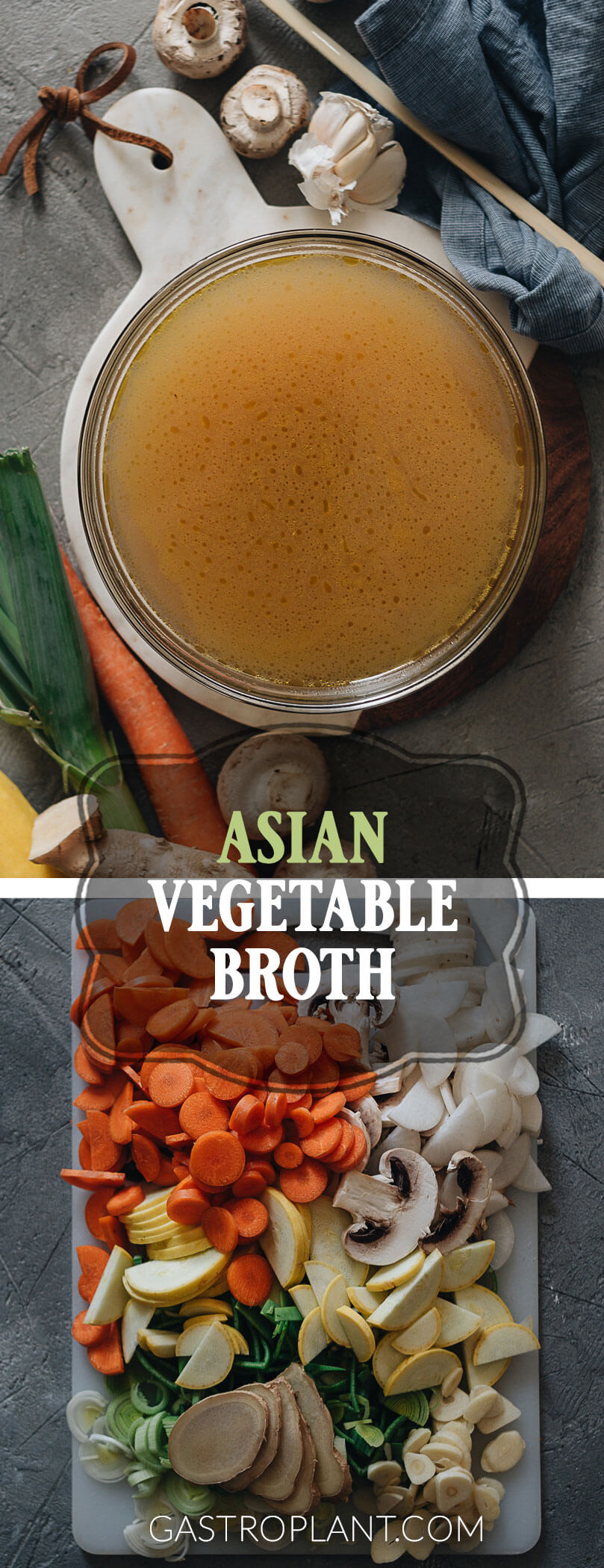 Easy Asian vegetable broth collage