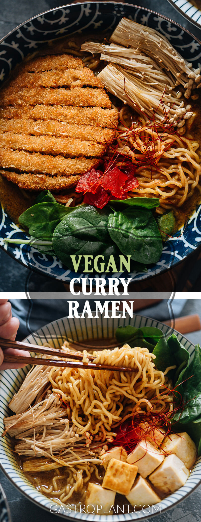 Vegan curry ramen collage