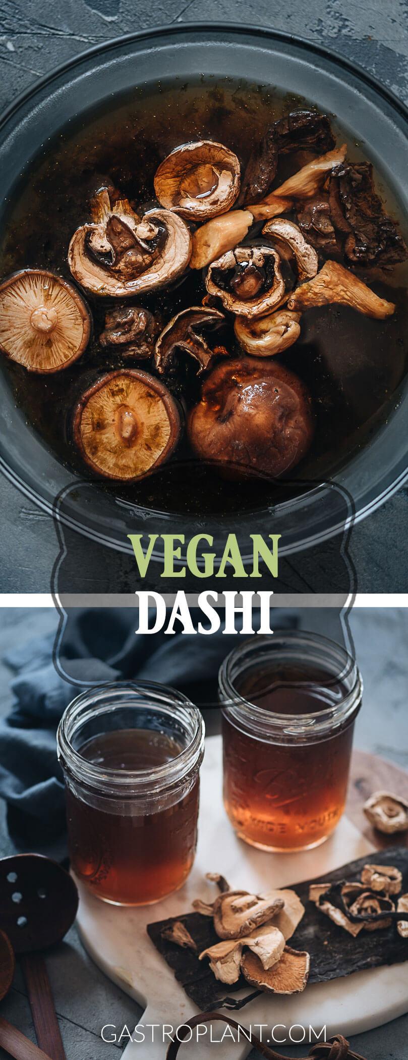 Easy umami vegan dashi collage with shiitake mushrooms and kombu seaweed