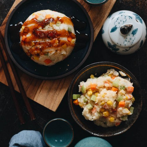 Easy Vegan Japanese Potato Salad with Carrot, Corn, Celery