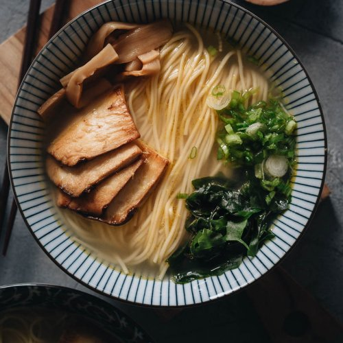 Vegan shio ramen with clear truffle broth