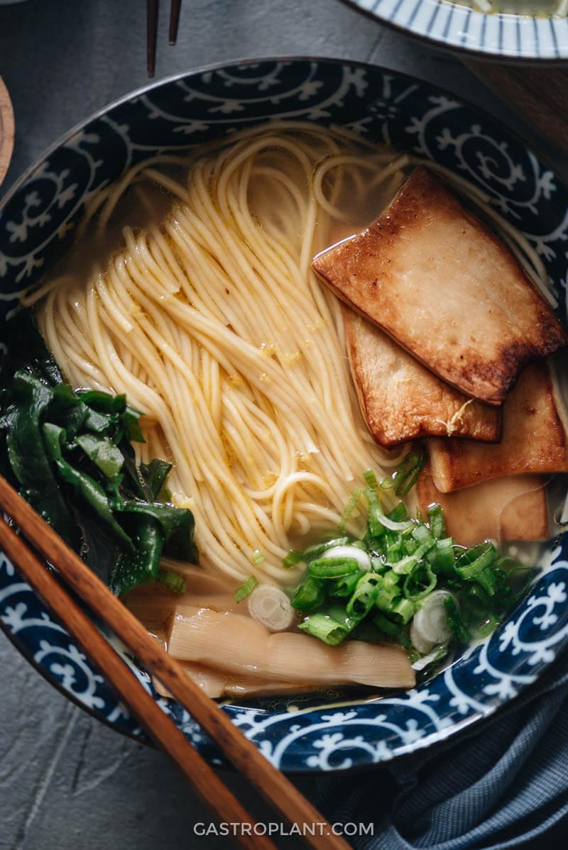 Vegan shio ramen close-up