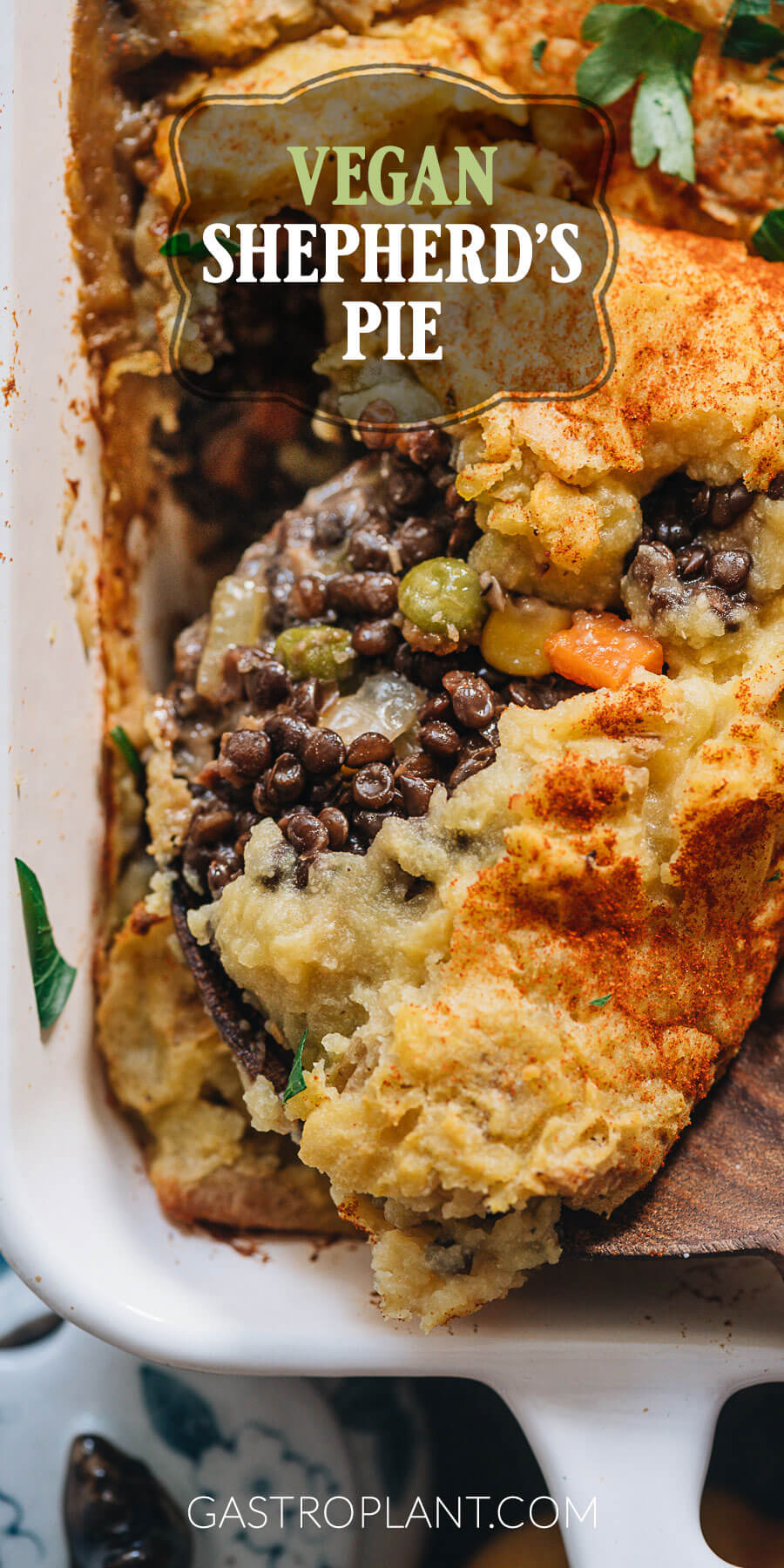 Easy vegan shepherd's pie with lentils and mushroom gravy