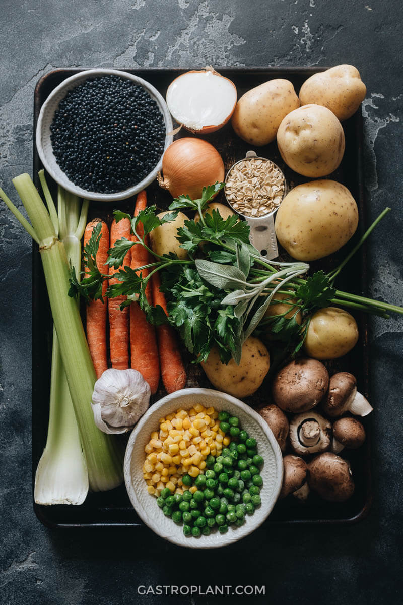 Fresh vegetable ingredients for vegan shepherd's pie