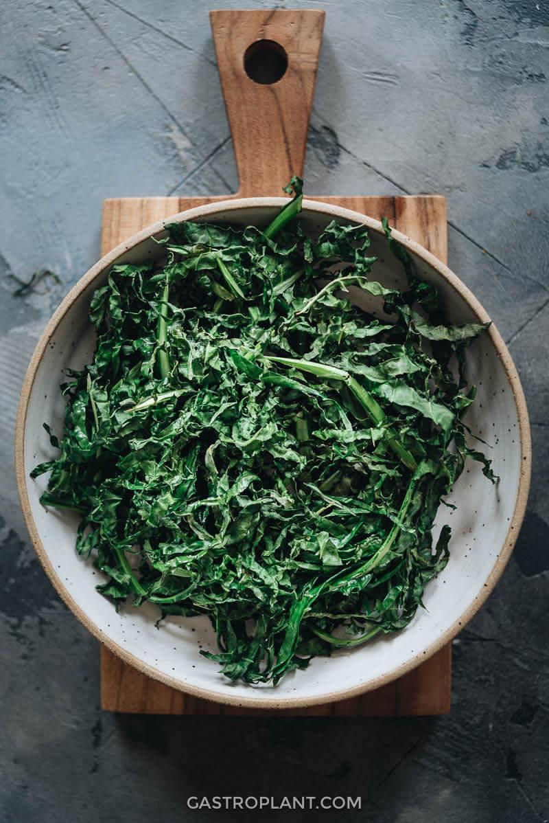 Easy Healthy Air Fryer Kale in a Bowl