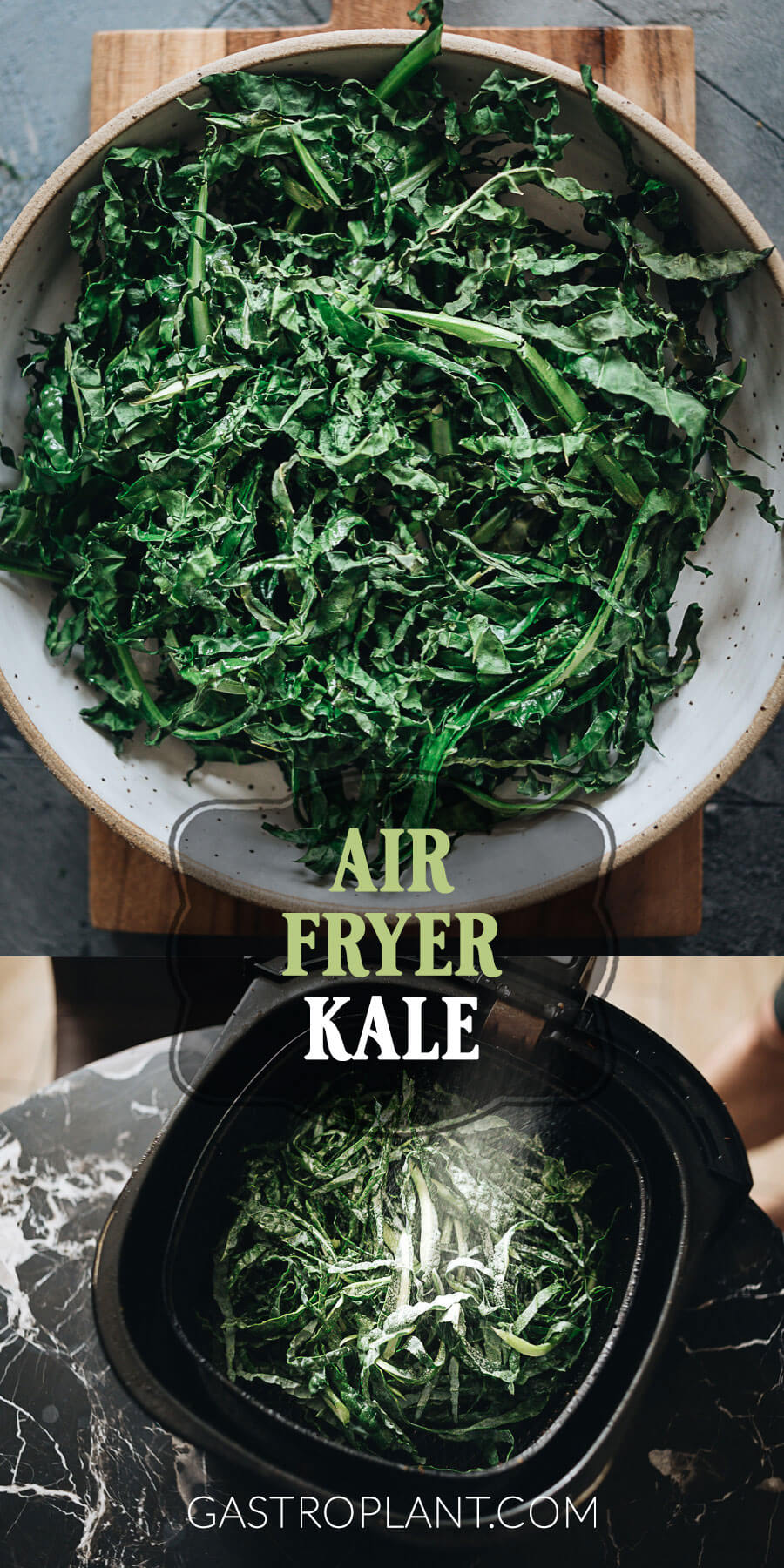 Air Fryer Kale Collage