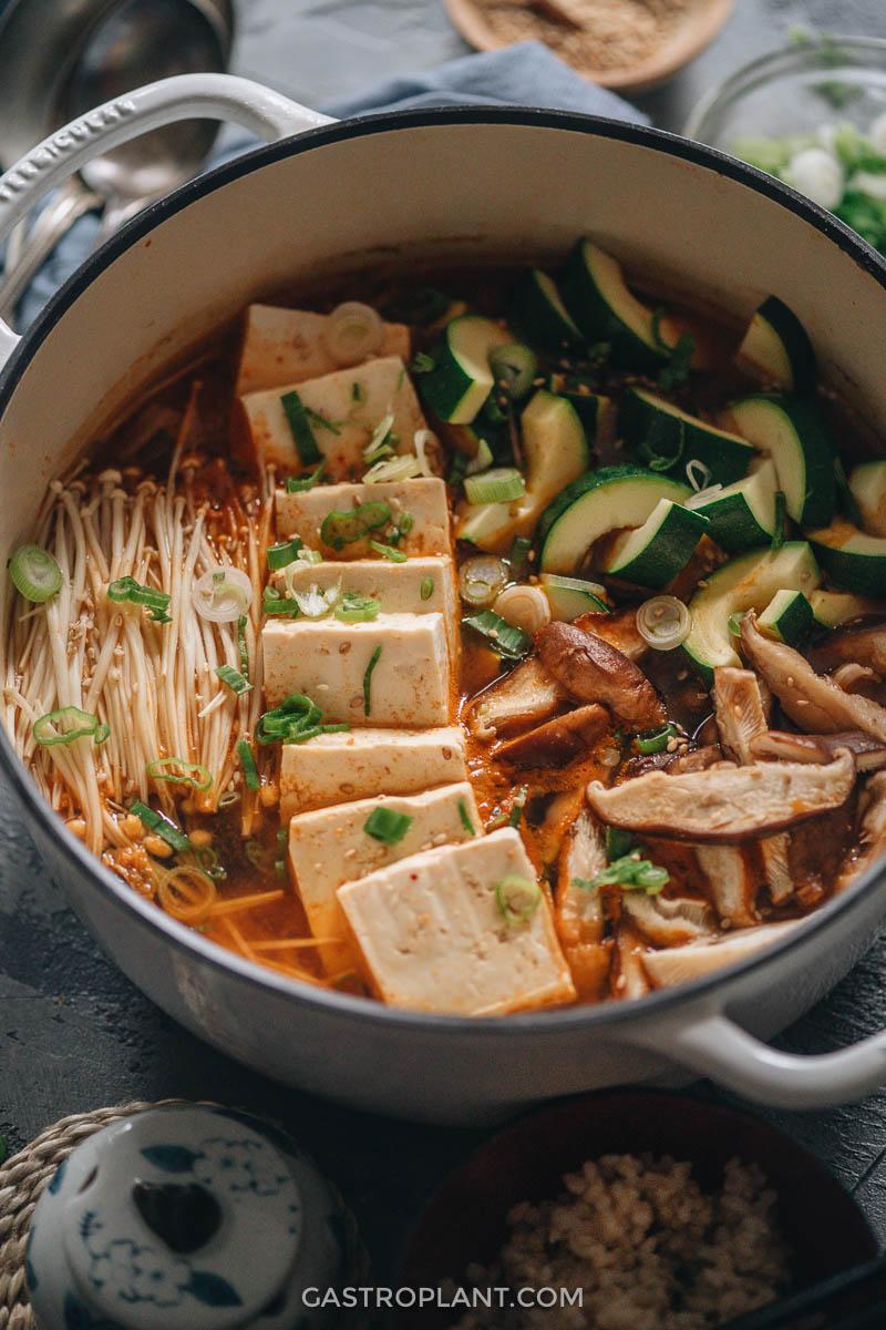 Easy spicy vegan kimchi jjigae with zucchini