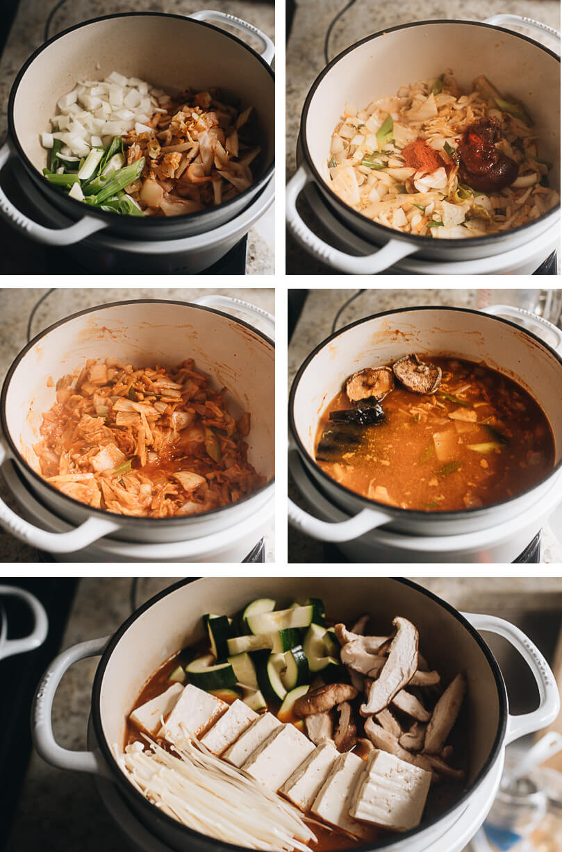 Cooking process for how to make vegan kimchi jjigae