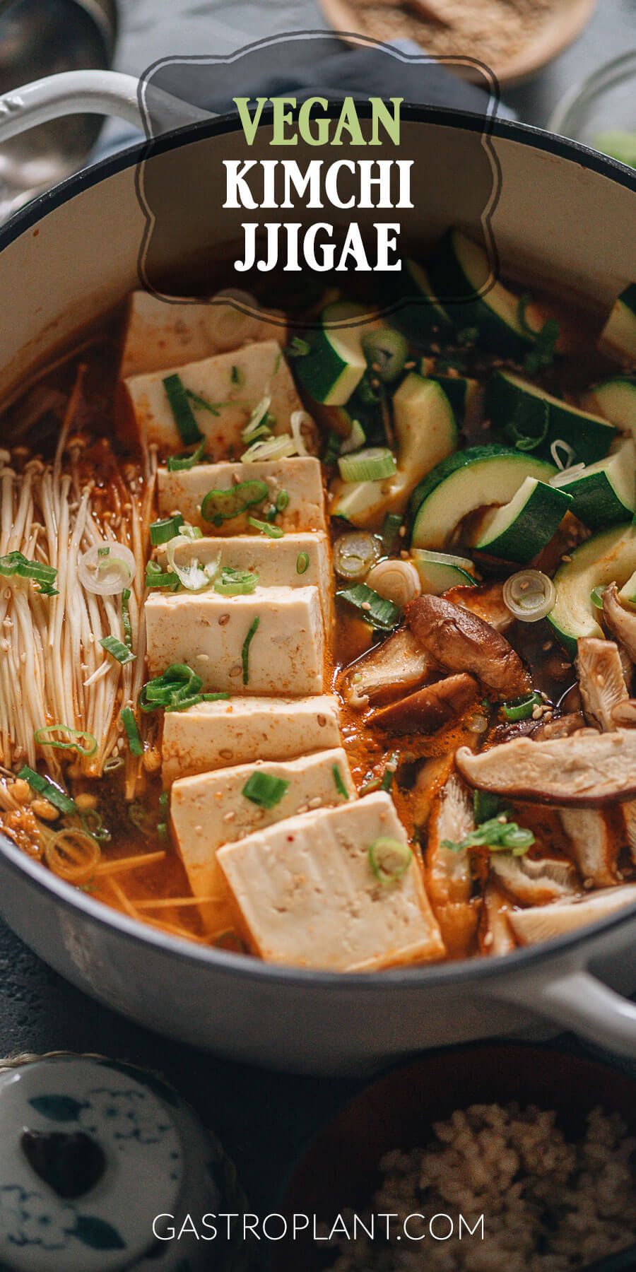 Vegan kimchi jjigae (stew) with tofu and mushrooms