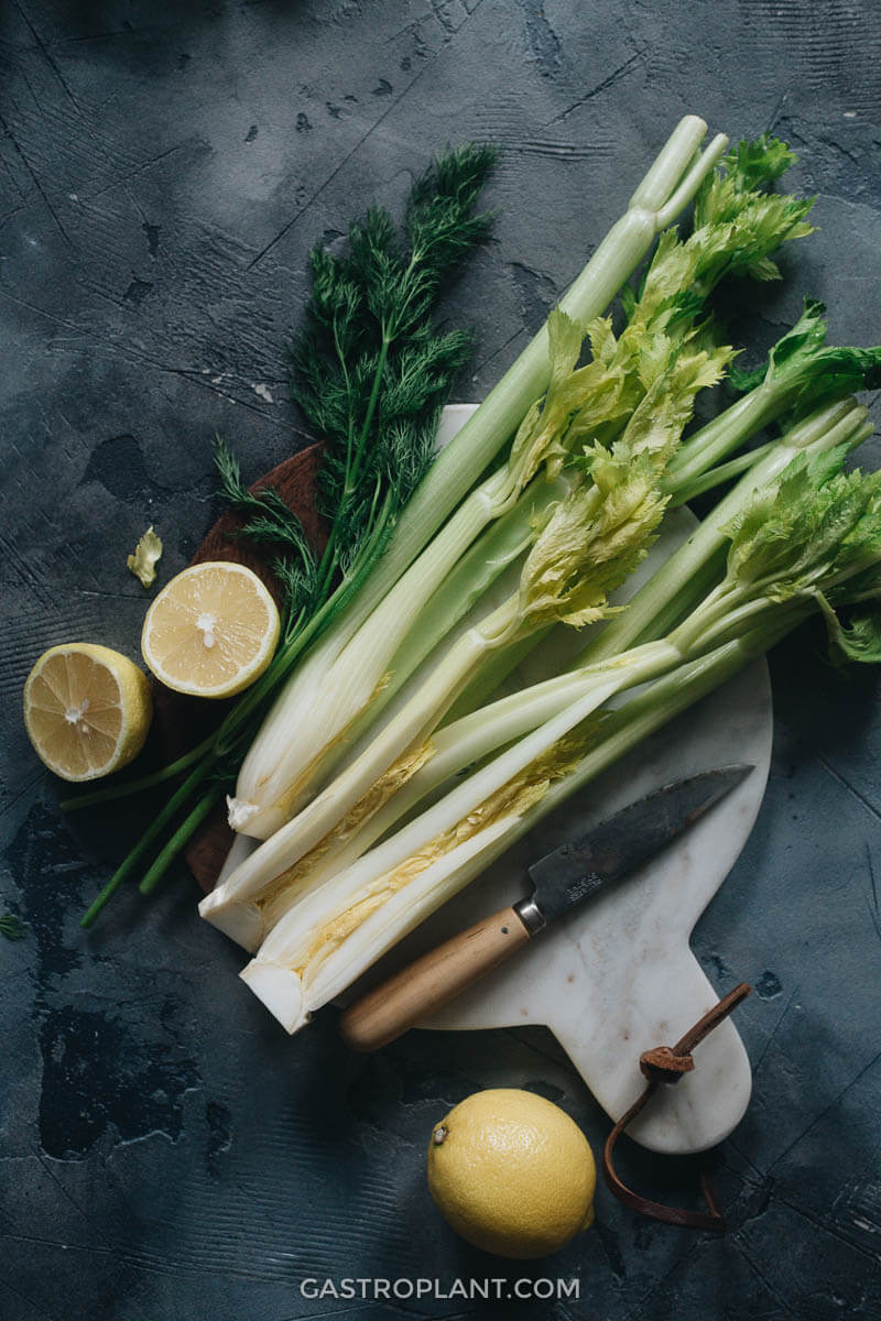 Celery, dill, and lemon for making smoothie