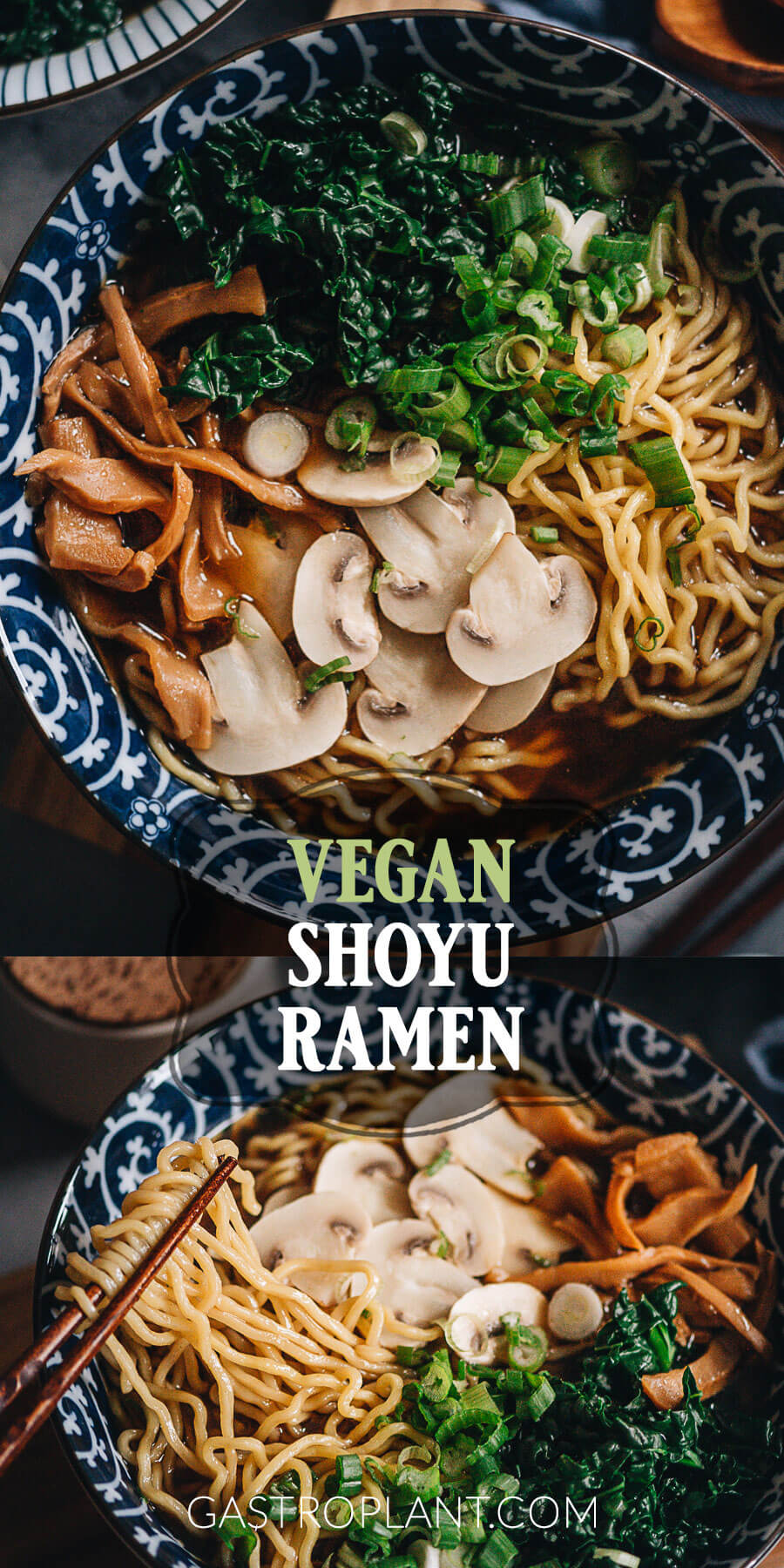 Easy vegan shoyu ramen noodle soup collage