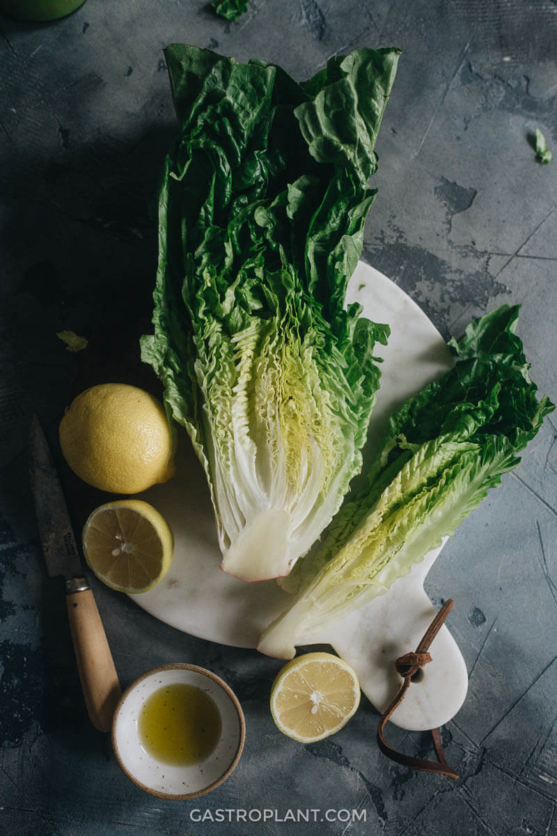 Romaine lettuce, lemons, and olive oil