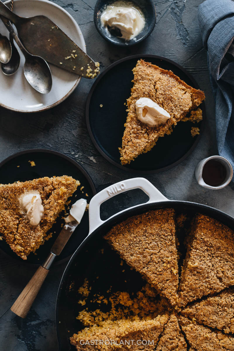 Vegan cornbread slices with butter