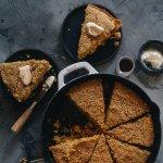 Crumbly vegan cornbread in skillet