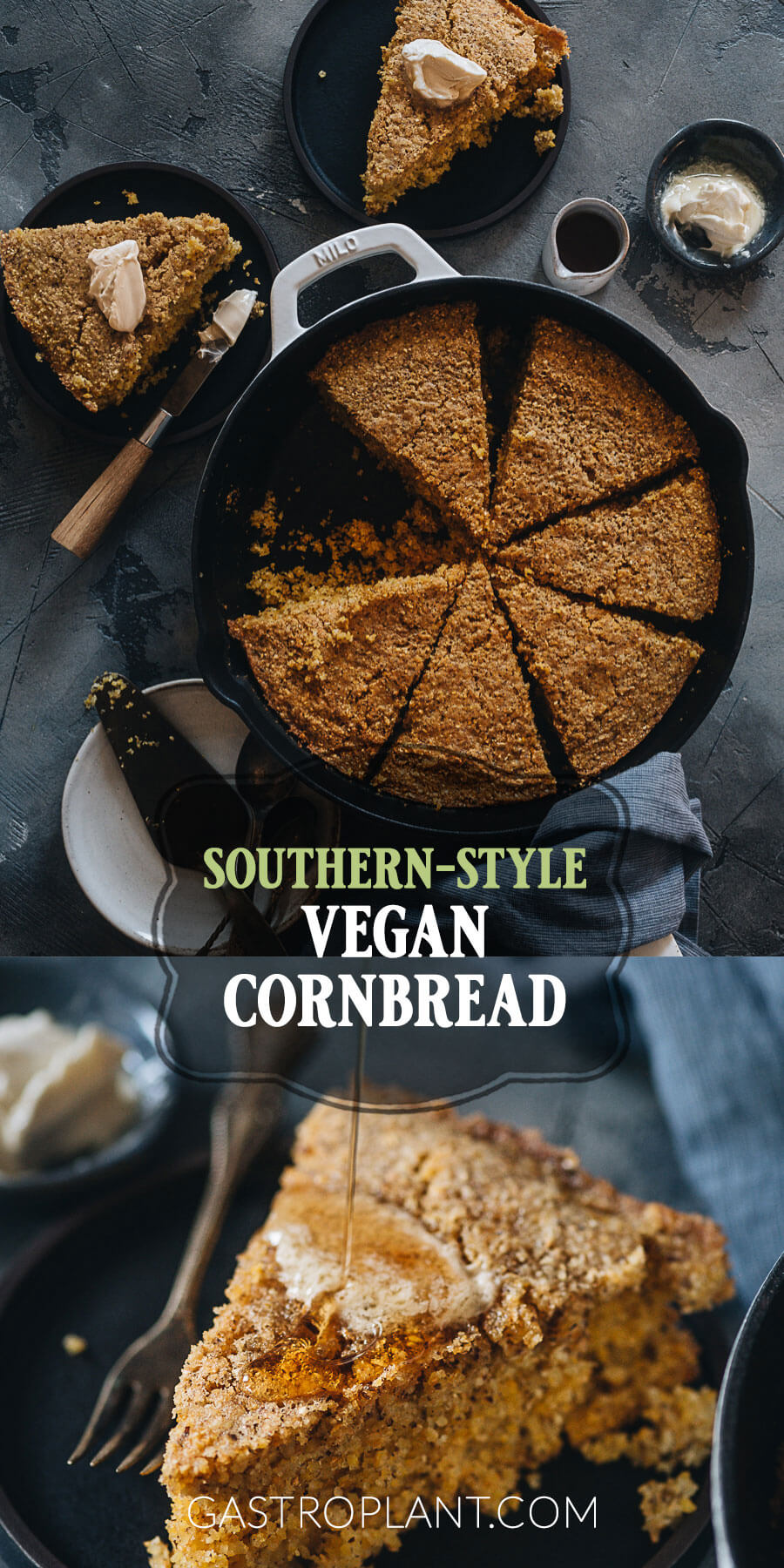 Southern Style Vegan Cornbread collage